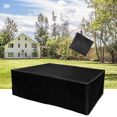 Juego de Muebles de jardín Rectangular, Patio/Cubierta de Tabla Cubierta Impermeable Grande y Durable de los Muebles para el Exterior Negro (Size : 135 * 135 * 75CM): Amazon.es: Hogar