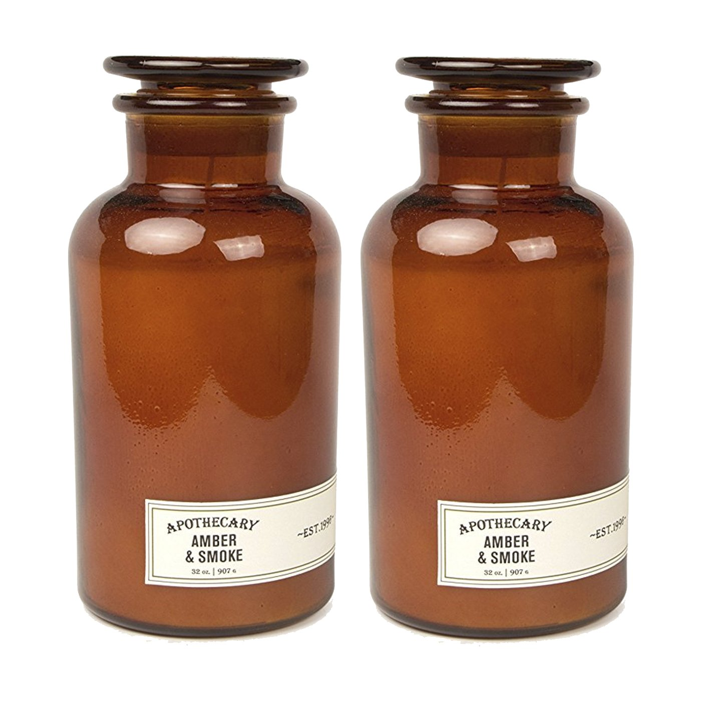 Paddywax Candles Apothecary Collection Jar Candle, 32-Ounce, Amber & Smoke - Pack Of 2