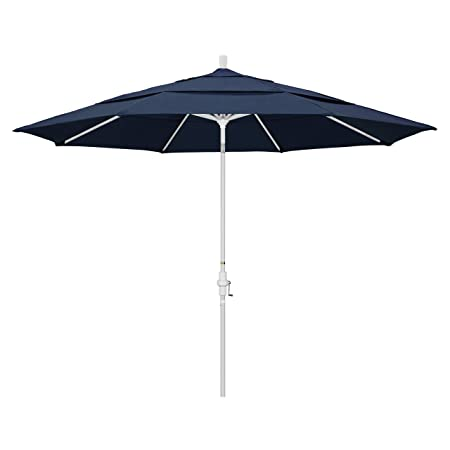 California Umbrella 11 Round Aluminum Market Umbrella, Crank Lift, Collar Tilt, White Pole, Sunbrella Spectrum Indigo