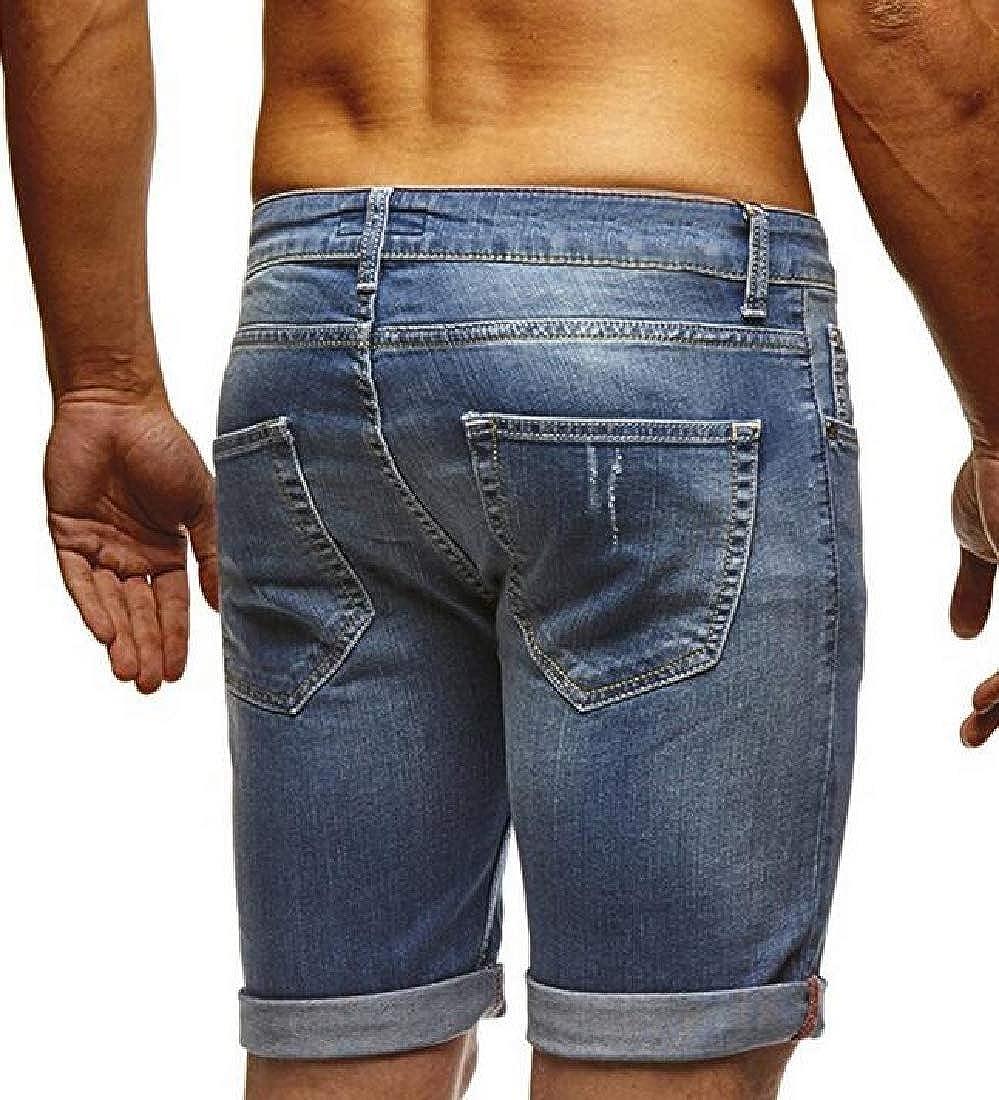 X-Future Mens Biker Moto Straight Leg Stretch Classic Hole Denim Shorts