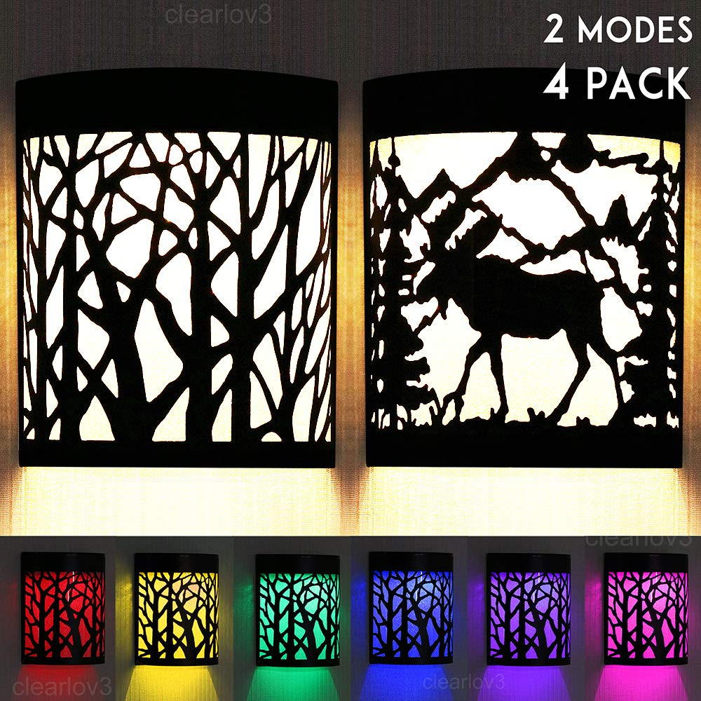 UPSTONE Outdoor Solar Wall Forest Reindeer Deer Night Light, 2 Modes Fence Post Solar Lights Yard Step Deck Landscape Lighting for Outdoor Garden Pathway Stairs Fence,Warm White/Color Changing 4 Packs