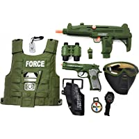 HALO NATION® Army Play Set / Police Spy Play Set with 10 Pcs Accessories Includes Bullet Proof Vest Jacket , Gas Mask & More