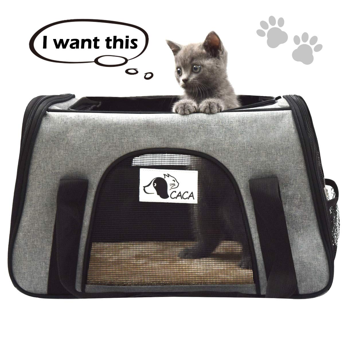 Pet Carrier Soft-Sided Airline Approved, Pet Travel Bag for Small Cats & Dogs with Side Pockets, Foldable Portable Handbag for Puppies, Kittens (Light Grey)