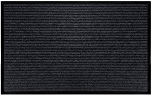 McoMco Outdoor Indoor Entrance Doormat, Grey Floor Mats with Shoe Scraper and Rubber Backing, All Weather Door Mats for High Traffic Areas, Durable and Easy to Clean (50cm*80cm)