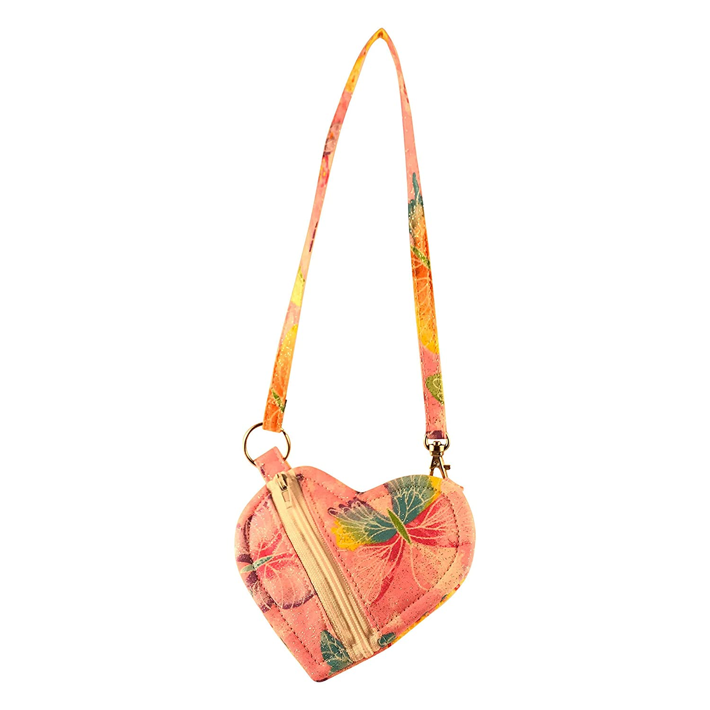 Pink Butterfly Heart-Shaped Wristlet//Mini-Purse for Girls