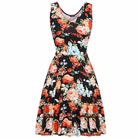 Engineeringed Brand New Summer Vintage Dress Women Sexy 1950s 60s Lady Floral Print at Amazon Womens Clothing store: