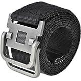 Ayliss Men's Soft Nylon Canvas Belt Double D-Rings Zinc Alloy Buckle Waistbelt