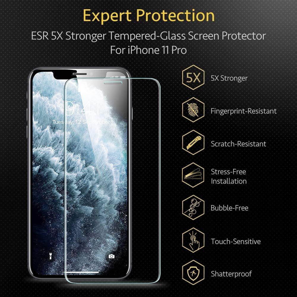 H/üllenfreundlich ESR Display Schutzfolie kompatibel mit iPhone 11 Pro//XS//X 2019 - Hochwertiger Panzerglas Displayschutz mit Montagerahmen f/ür iPhone 11 Pro//XS//X 2 St/ück Face-ID kompatibel