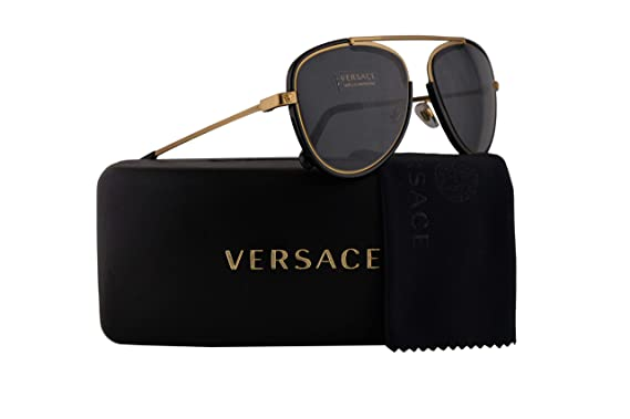 c8ba7eb7dec Versace VE2193 Sunglasses Tribute Gold Black w Grey Lens 56mm 142887 VE  2193  Amazon.co.uk  Clothing
