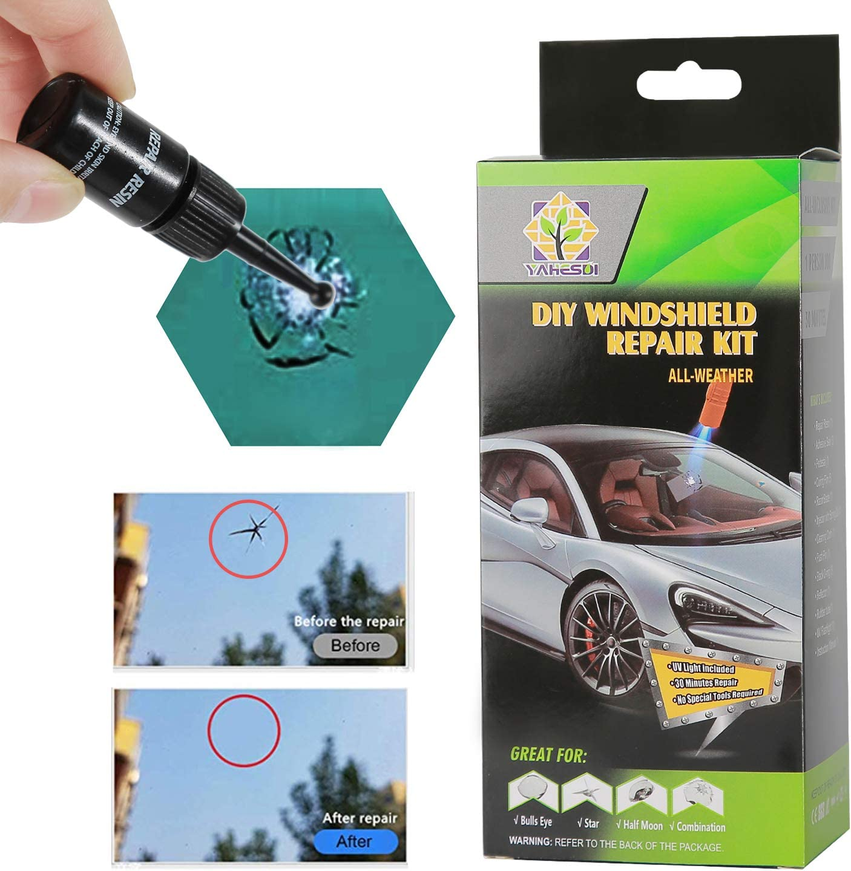 with UV Curing Light Car Glass Repair Tool Set for Half-Moon Cracks and The Combination Cracks 2020 New DIY Windshield Repair Kit Fast Repair