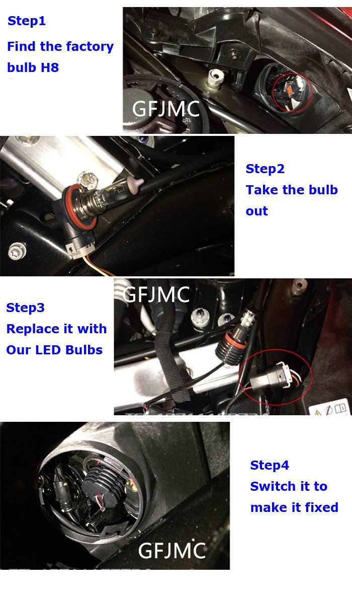 Amazon.com: GFJMC Angel Eyes LED Lights Bulbs H8 120W Halo Ring Error Free for BMW E92 E93 E70 E71 F01 F02 F03 F04 E83 E70 E71 E89 3 5 7 Series X5 ...