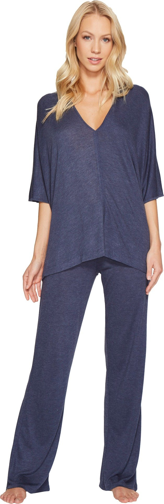 Natori Women's Shangri-La Caftan PJ Heather Night Blue Womens Small / 6-8