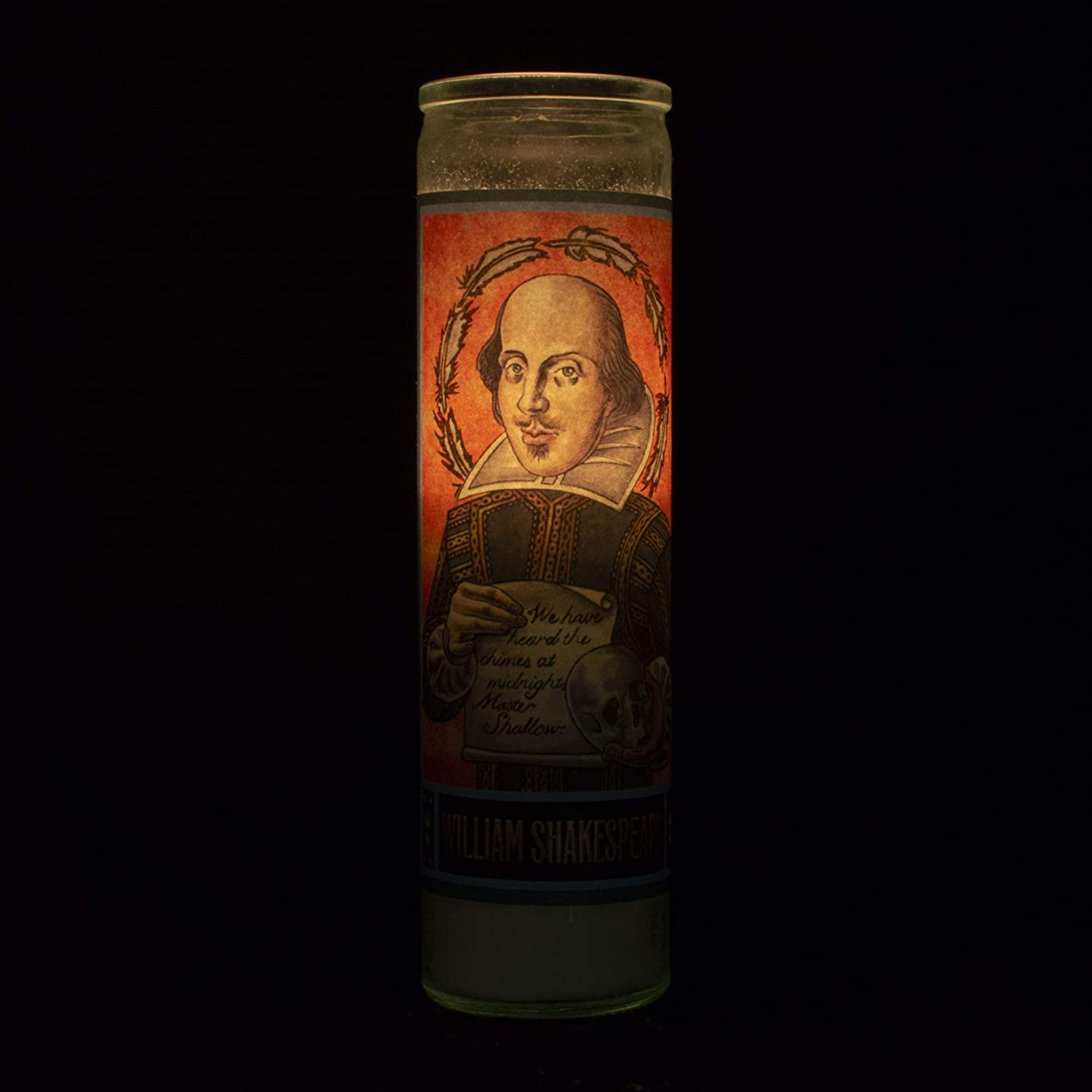 Made in the USA 8.5 Inch Glass Prayer Votive William Shakespeare Secular Saint Candle