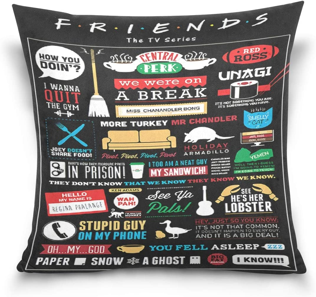 N / A Friends Linen Throw Pillow Case Protectors with Zipper Standard Pillow Case Decorative Pillow Covers for Couch,18x18 Inches (Friends#1)