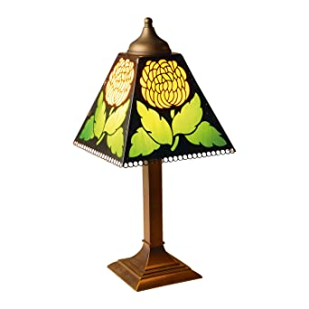 River Of Goods Chrysanthemum Desk Table Lamp Stained Glass Shade