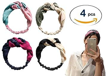 Amazon.com   My JawDropper 4 Pack Women Silk Headbands Boho Style Criss  Cross Turban Head wrap 5ce074d7908