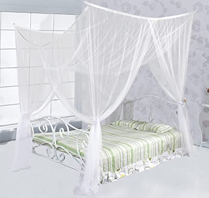 Just Relax Four Corner Post Elegant Mosquito Net Bed Canopy Set, White, Full /
