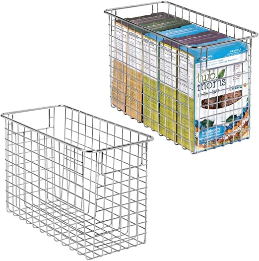 mDesign Household Metal Wire Storage Organizer Bins Baskets with Handles for