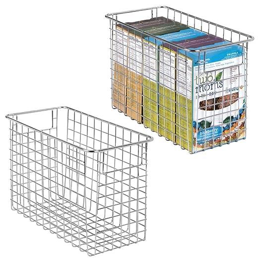 40,6 cm x 30,5 cm x 15,2 cm mDesign Cesta de Metal Multiusos Organizador de Cocina y despensa Universal Cesta organizadora Grande con Asas Plateado