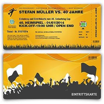 Einladungskarten Zum Geburtstag 30 Stuck Als Fussballticket Einladung Ticket Fussball Orange