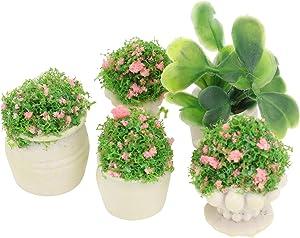 DOITOOL 5Pcs Miniature Potted Flower Plants Resin Dollhouse Plants Scene Model Mini Bonsai Toys Fairy Garden Greenery Decoration Accessories for Micro Landscape