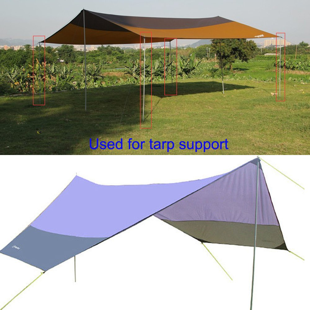 Tent Tarp Poles Folding 3 Section Adjustable Dual Size Steel Tent Accessories for Headroom Canopy Porch Awning Sun Sails  sc 1 st  eBay & Tent Tarp Poles Folding 3 Section Adjustable Dual Size Steel Tent ...