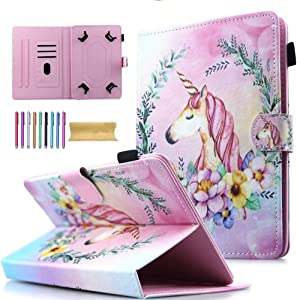"Universal 10"" Tablet Case, AMotie Wallet Stand Cover w/Credit Card Slots for iPad 9.7 2018 2017/ iPad Air 1 2/ Galaxy Tab A 10.1 S4 10.5/ Tab E 9.6/ Fire HD 10/ Google and More 9.5, Pink Unicorn"