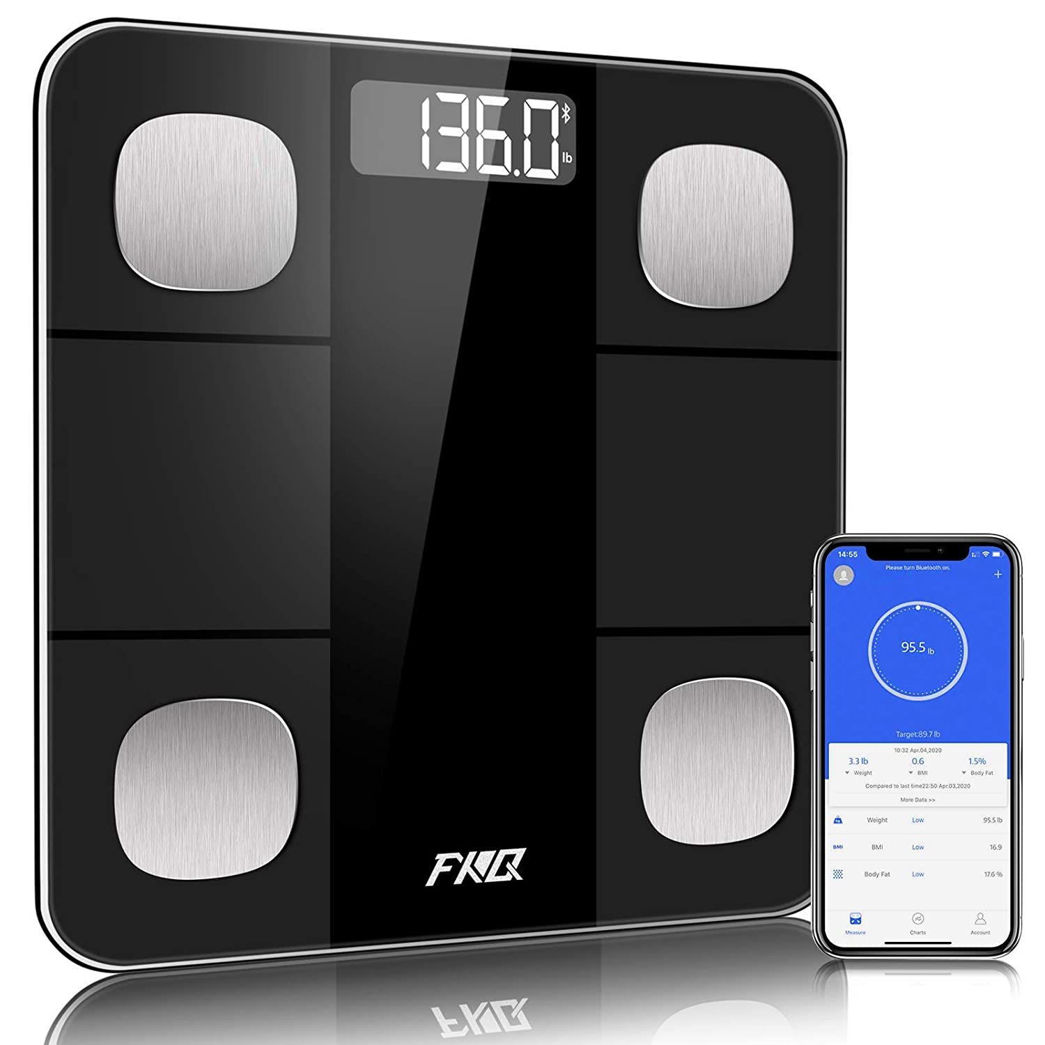 Scales for Body Weight, Bluetooth Body Fat Scale, Digital Bathroom Weight Scale, Smart BMI Scale Body Fat Analyzer Tracks 14 Key Compositions, High Precise Weight Measure Scale with Smartphone App