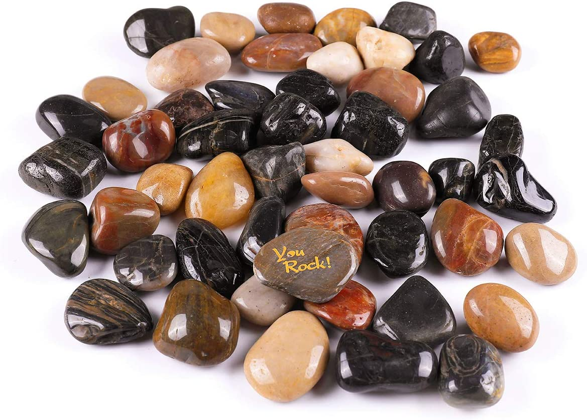 ROCKIMPACT 11 lb Polished Decorative Garden Pebbles, Outdoor Landscaping Rocks 1-1/2