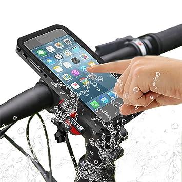 Bicicleta Soporte, SGODDE Exterior Resistente al Agua Carcasa Antigolpes Manillar de Bicicleta Soporte para Teléfono Móvil Cuna - Pinza con 360 Grados ...