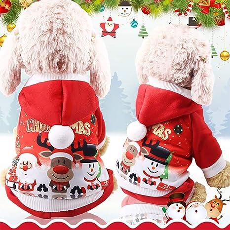 Mallalah Perro de la Navidad Viste la Capa del Perro del Traje de Papá Noel, Ropa para Mascotas Sudadera con Capucha de Perro (M)