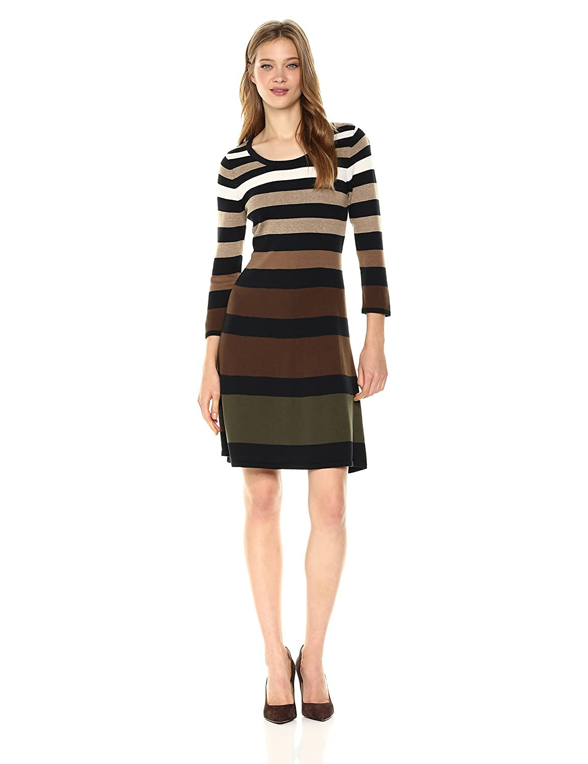Black Army Multi Nine West Womens 3 4 Sleeve Fit and Flare Multi color Striped Dress Dress