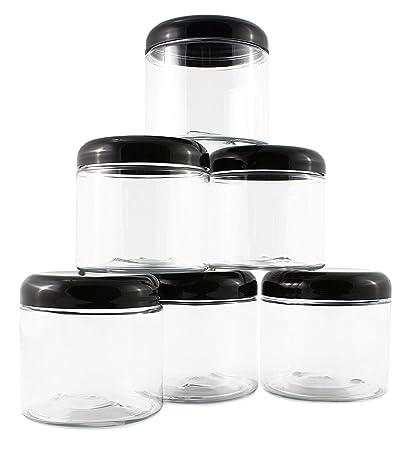 16oz Clear Plastic Jars with Black Plastic Lids (6 pack); BPA Free PET  sc 1 st  Amazon.com & Amazon.com: 16oz Clear Plastic Jars with Black Plastic Lids (6 pack ...
