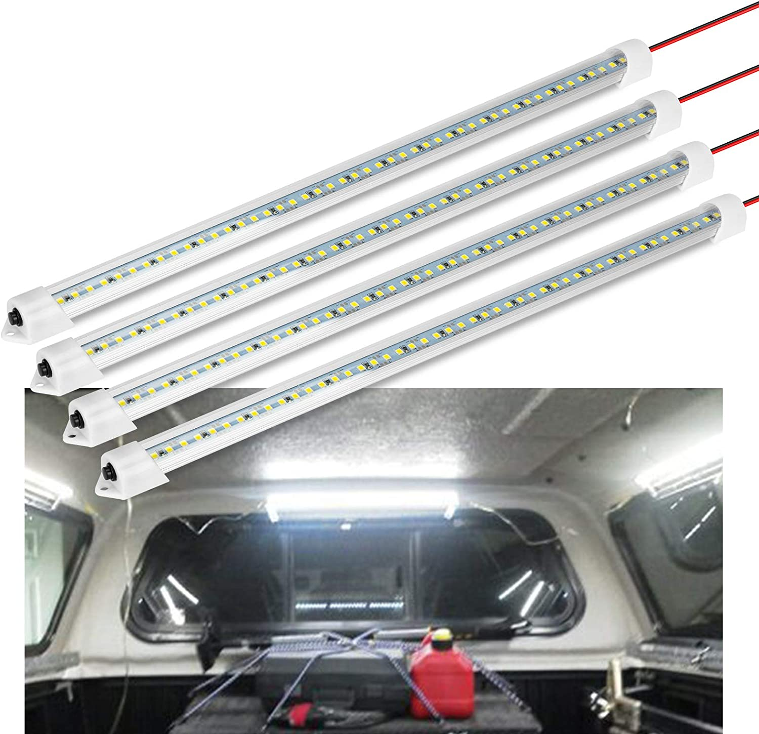 RV 12V Interior LED Light Bar Boat 700LM 3W DC 12V LED Light Strip with Switch for Car 12 Volt LED Lighting Cabinet 6500K White Light for Trailer Van Cargo Slim Enclosed Trailer Lights Fixture Truck Bed 4 Pack