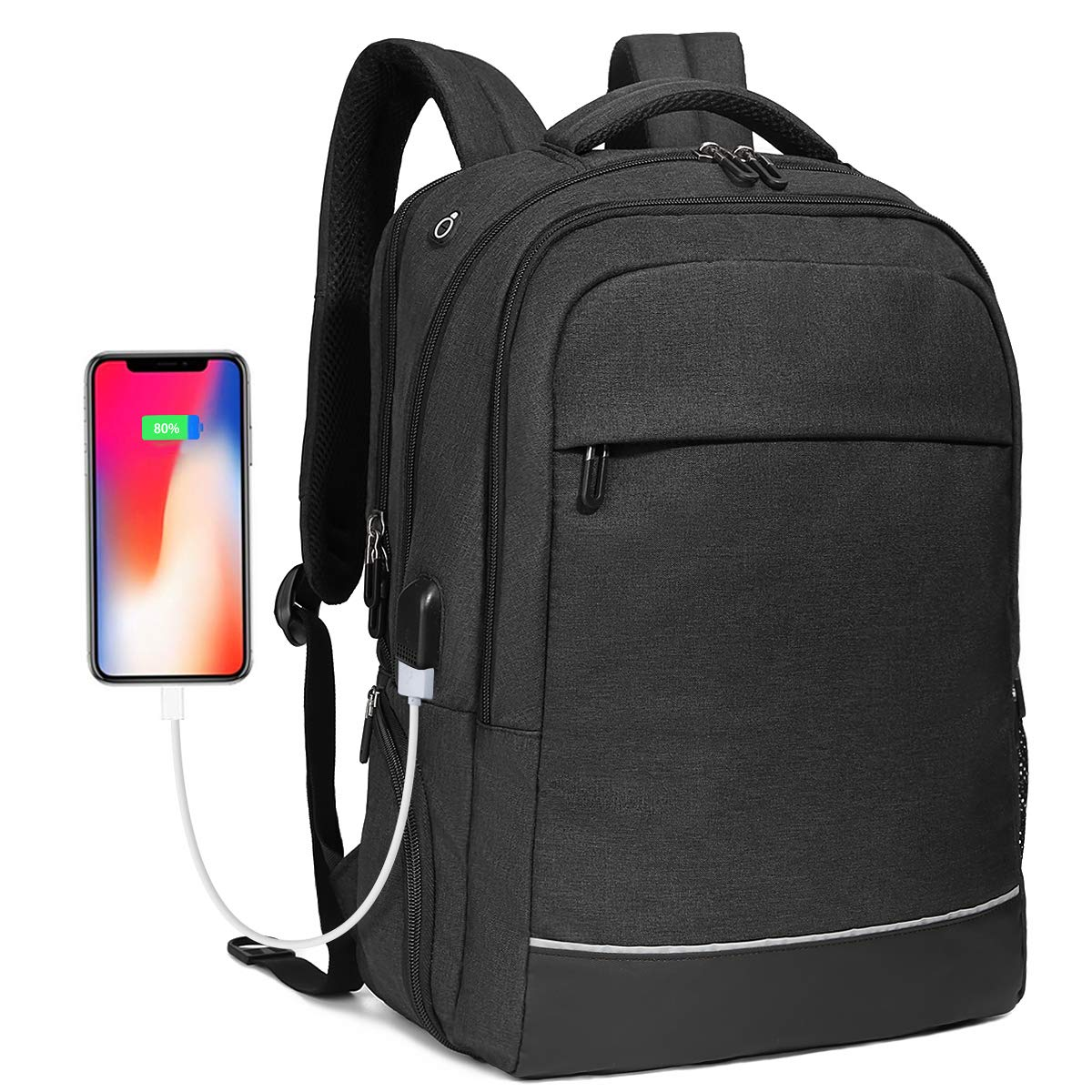 Travel Business Laptop Backpack up to 17.3 inch, Water Resistant College School Computer Bag for Women & Men and Students, Slim Work Backpack for Laptops & Notebook with USB Charging Port (Black) Bropang B8533