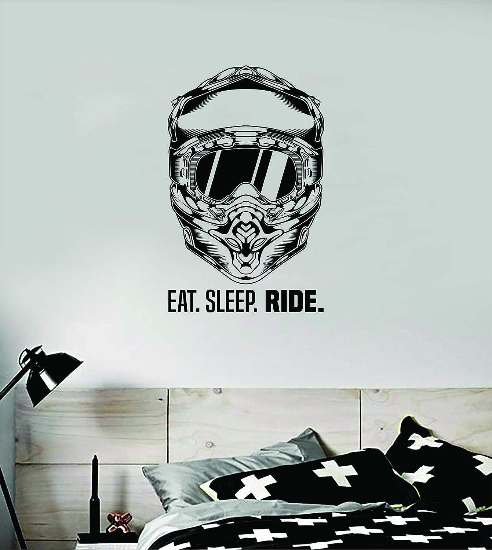 Boop Decals Eat Sleep Ride Helmet Dirtbike Wall Decal Sticker Vinyl Art Bedroom Room Decor Decoration Teen Boy Girl Bike Race Cruise Off Road Cross Country Motorcycle Wheel Engine Moto X Auto