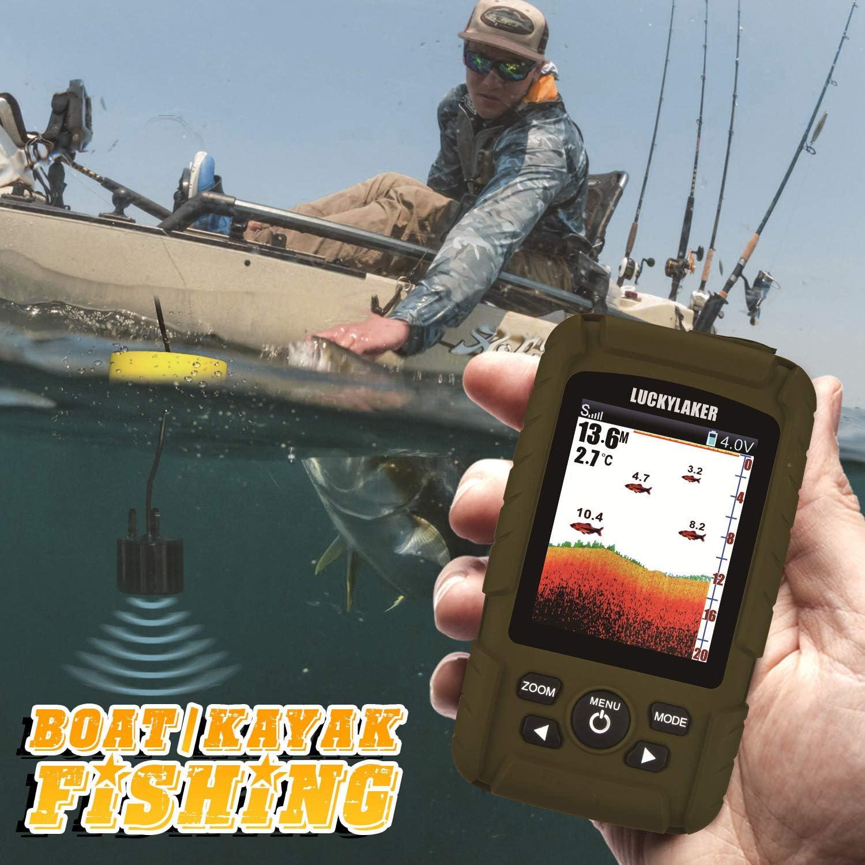 LUCKY Profundidad del Agua Buscadores de Peces Buscador de Peces de Pesca port/átil Prueba de Agua port/átil Buscador de Pesca en Hielo Transductor de Sensor de sonda para Barco Kayak Pesca en el Mar