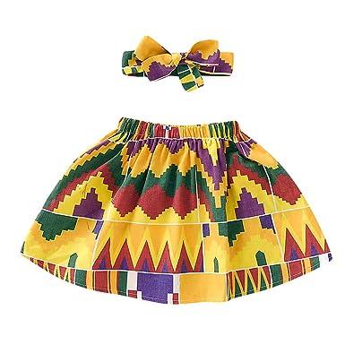 QinMMROPA Falda Africana de bebé niña Conjunto de Ropa de Diadema ...