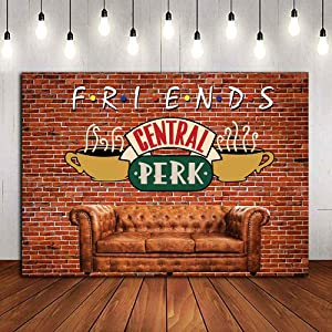 Red Brick Wall Sofa Coffee Shop Photography Backdrop Polyester Banner Friends Central Perk Pub Photo Background for Portraits Photo Booths Studio Props 5x3ft Party Supplies