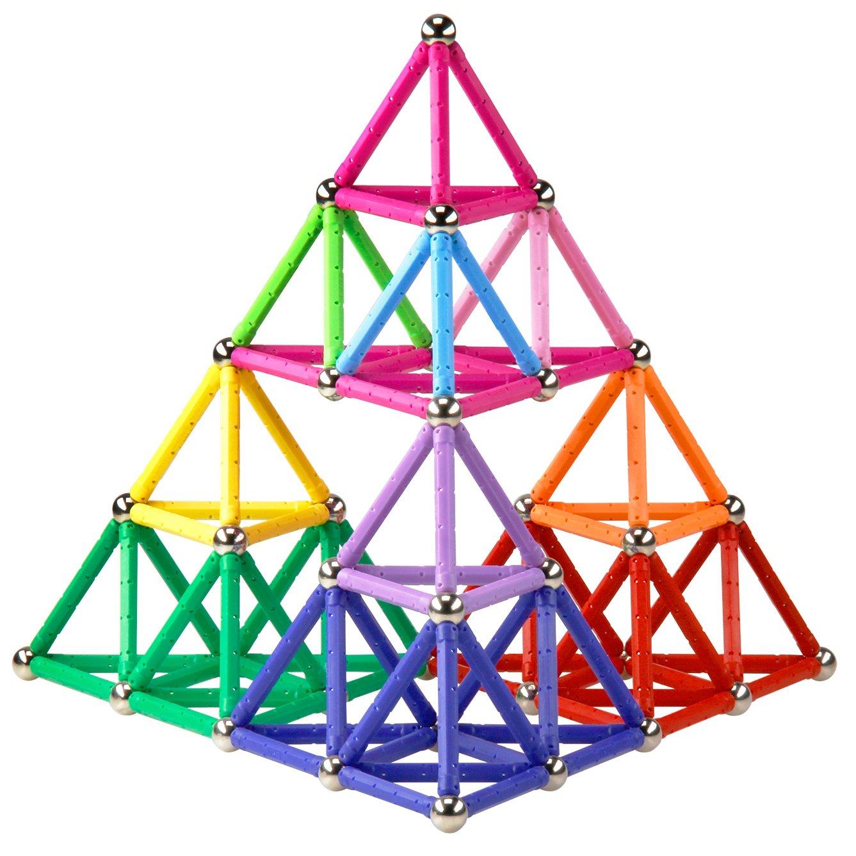 Elongdi Magnetic Building Blocks, [ 132 Pieces ] Lengthen Building Sticks Set, Magnet Stem Toys Set Non-Toxic Building 3D Puzzle Boys Toys for Kids Boys Girls 3, 4, 5, 6, 7, 8, 9 Years Old + by Elongdi