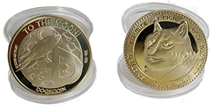 Physical Dogecoin Collectible Souvenior 2 Pack for Doge Coin &  Commemorative Cryptocurrency Enthusiasts | to The Moon SHIBES