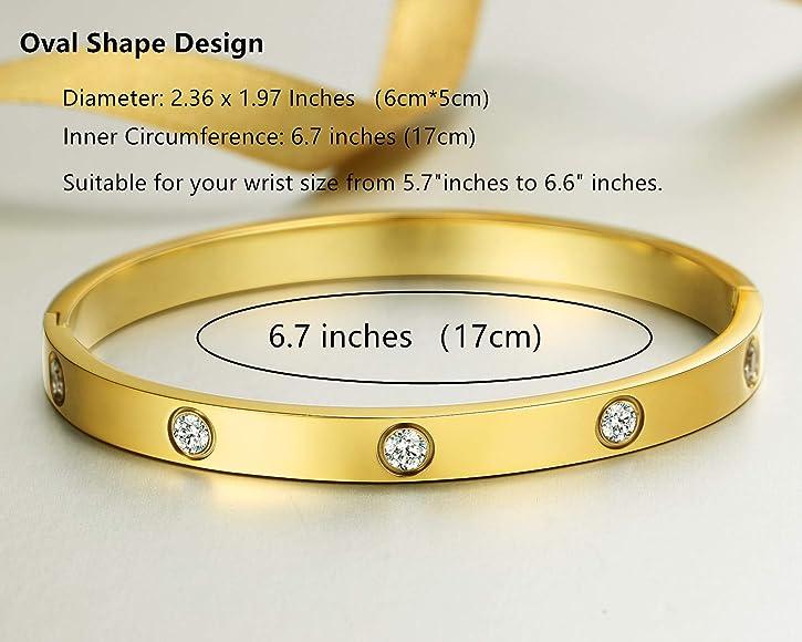 MVCOLEDY Jewelry 18 K Gold Bangle Bracelet CZ Stone Hinged