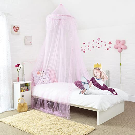 Princess Bed Canopy - Beautiful Silver Sequined Childrens Bed Canopy in Pink