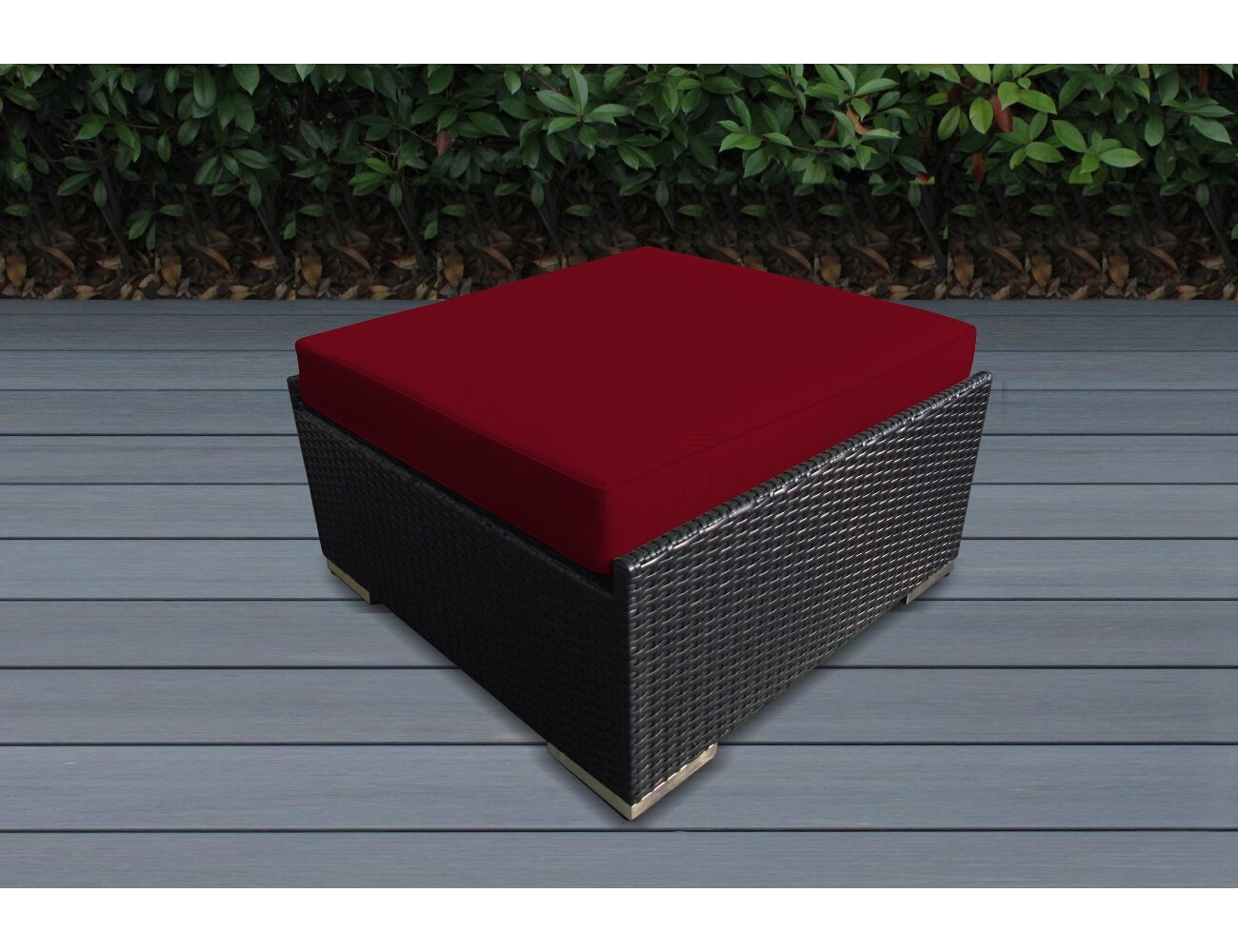 Ohana 7-Piece Patio Wicker Sectional Sofa Set with Cover, Red - All Weather Black PE Resin Wicker Couch Set is modular and can be arranged many ways 7pc Set includes 2 Corner Sofas + 2 Middle Sofas + 2 Large Ottomans +1 Coffee Table. The Sofa set is 28 inches tall to provide full support for your back. Weather resistent cushion covers are durable, resilient against the elements, and zippered for easy cleaning - patio-furniture, patio, conversation-sets - 717EGqBAJ5L -