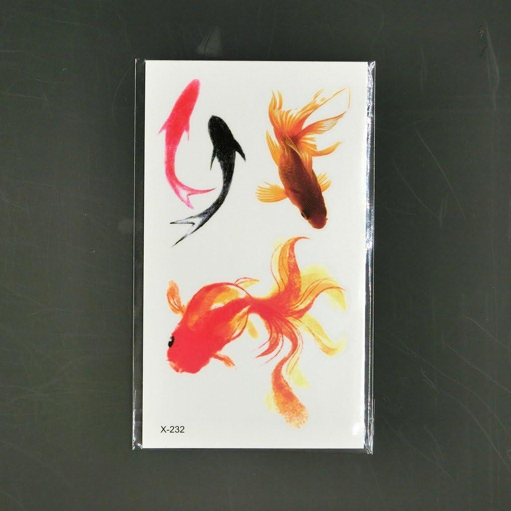 Oottati Tatuajes Temporales Goldfish Piscis (Juego De 2): Amazon ...