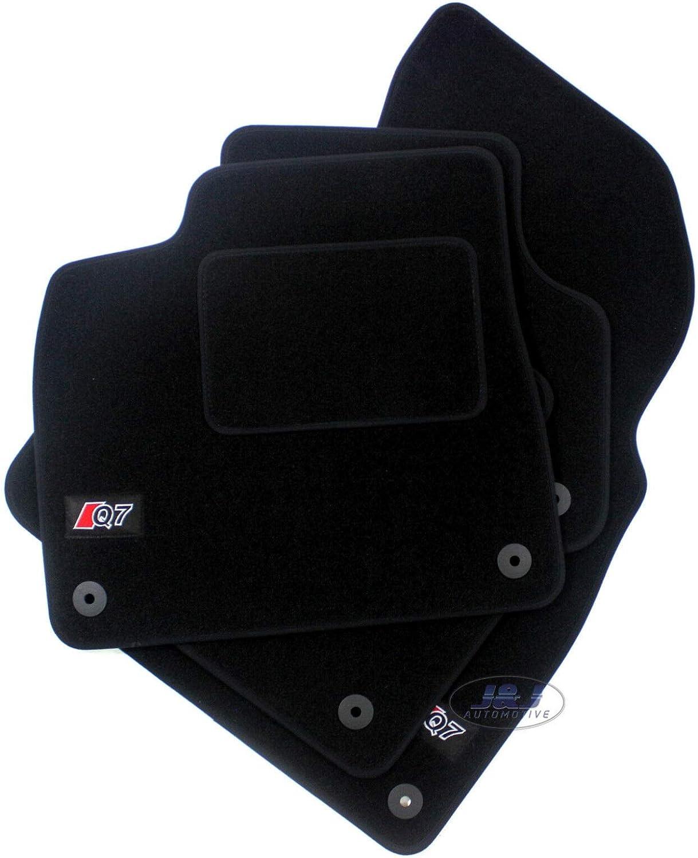 Logo Tapis DE Sol Noir Velours Compatible avec Q7 2015-pr/és J/&J AUTOMOTIVE