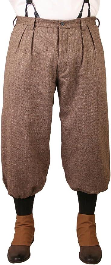 Historical Emporium Men's Wool Blend Herringbone Tweed Knickers