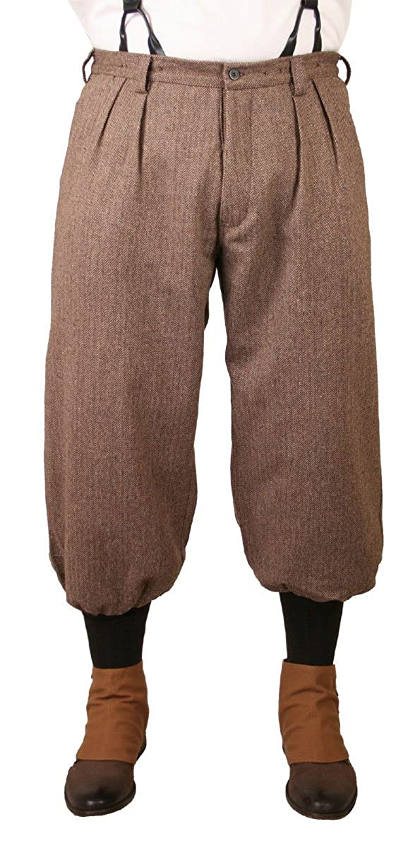 Men's Vintage Pants, Trousers, Jeans, Overalls Wool Blend Herringbone Tweed Knickers Historical Emporium Mens $74.95 AT vintagedancer.com