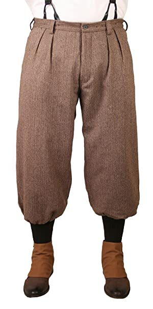 1920s Men's Pants, Trousers, Plus Fours, Knickers  Wool Blend Herringbone Tweed Knickers Historical Emporium Mens $74.95 AT vintagedancer.com