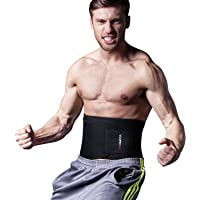 """YOUNGDO Waist Trimmer, Fitness Ab Slimmer Belt Weight Loss Wrap Belly Fat Burner Low Back Support Waist Trainer for Men and Women, One Size Fits up to 46"""""""